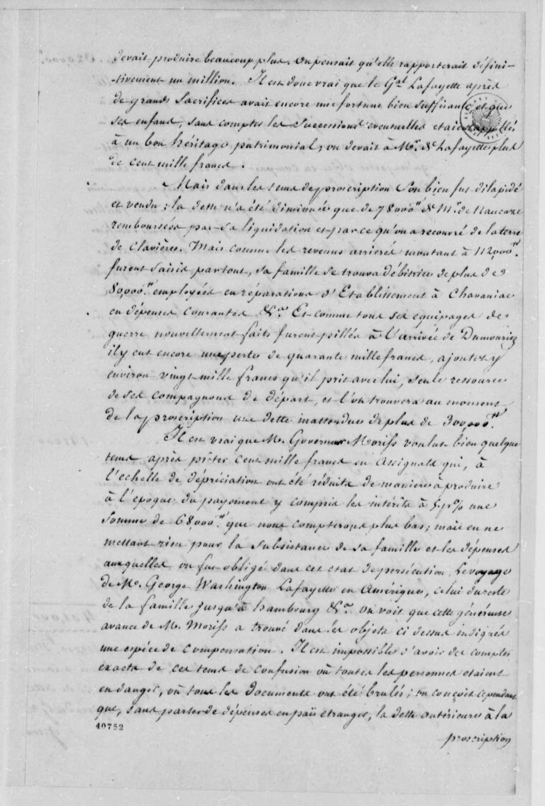 Marie Joseph Paul Yves Roch Gilbert du Motier, Marquis de Lafayette, no date, Statement of Affairs in French