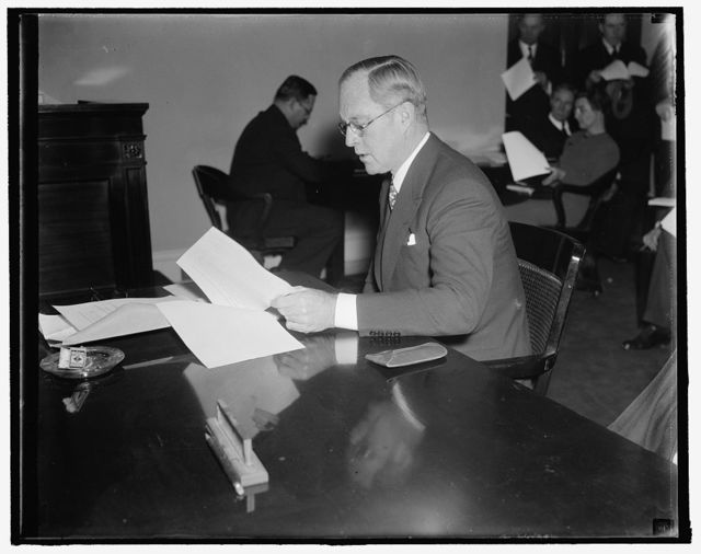 Maritime Commission chairman. Washington, D.C., Dec. 3. Joseph P. Kennedy, Chairman of the U.S. Maritime Commission, as he recently appeared before a Congressional committee. 12/3/37
