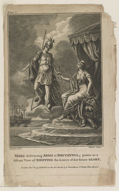 Mars delivering arms to britannia, points to a diftant view of shipping the source of her future glory