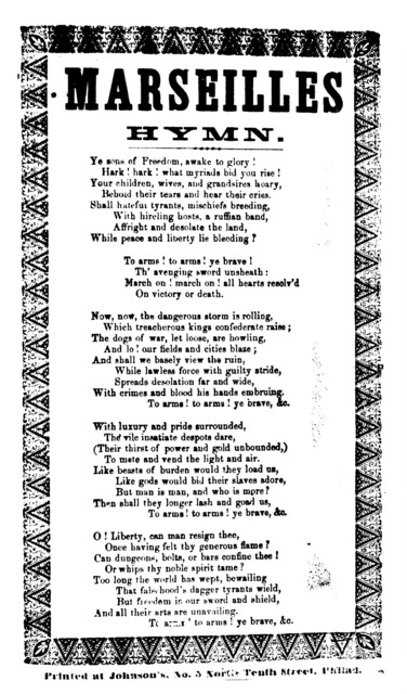 Marseilles hymn. Printed at Johnson's, No 3 North Tenth Street, Philad