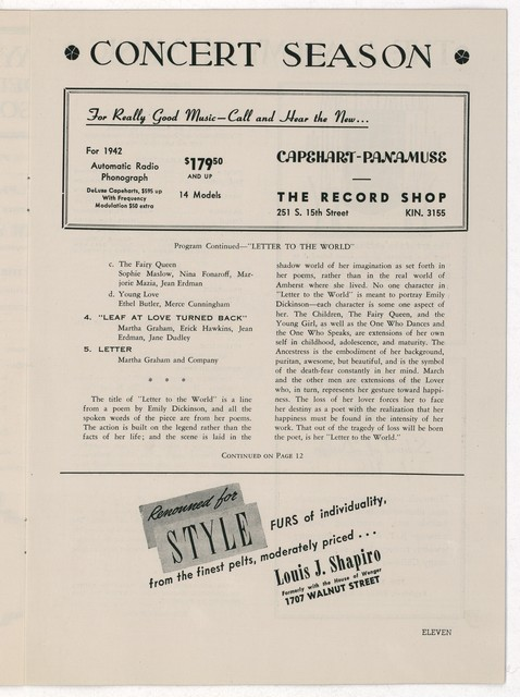 [ Martha Graham and Company, Academy of Music, Philadelphia, February 4, 1942]