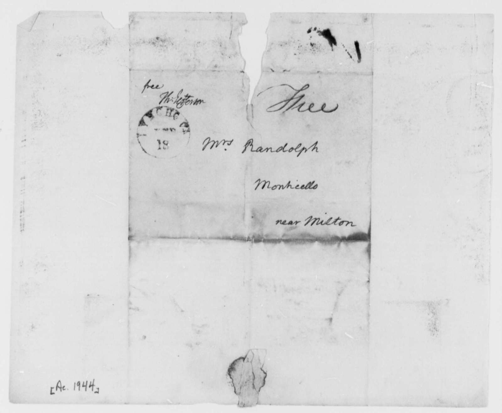 Martha Randolph, no date, Envelopes and Cover Sheets Retained from Unidentified Letters