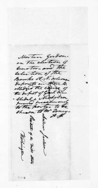 Martin Gordon to Andrew Jackson