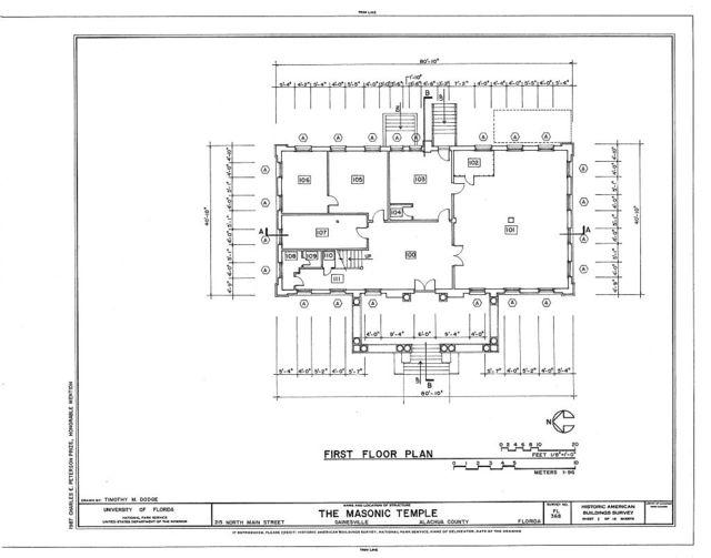 Masonic Temple,  Lodge F. & A. M. No. 41, 215 North Main Street, Gainesville, Alachua County, FL