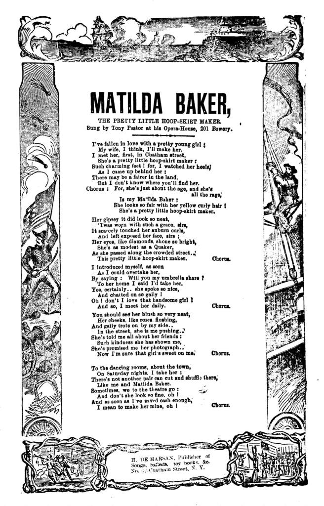 Matilda Baker, the pretty little hoop-skirt maker. H. De Marsan, Publisher, ... No. 60 Chatham Street, N. Y