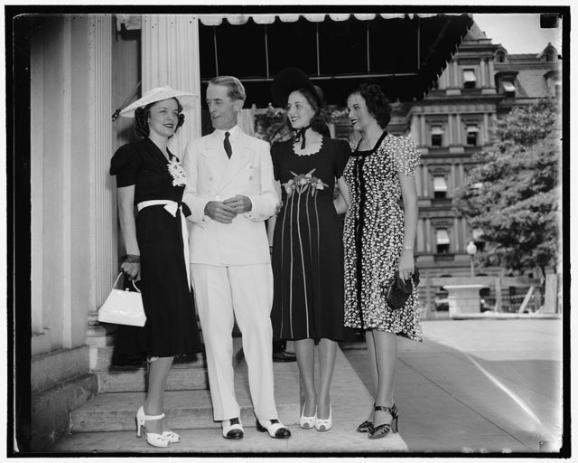 """""""McIntyre meets the Ladies"""" Washington, D.C., Aug. 4. Three of Washington's loveliest meet the Secretary to the president, and are shown thru the White House. The girls have been competing for the title of Miss Washington, and Miss Dorothy Parker, left; won. Next Marvin McIntyre, Nadine Petrrey, 2nd place, and Miss Toni Mann, who placed third, Miss Parker will take part in the nation wide contest to be held in Atlantic City Labor Day, for the title of Miss America, she weighs 112 lbs, and is 5 feet 4 inches tall, and is 18 years old, 8/4/38"""