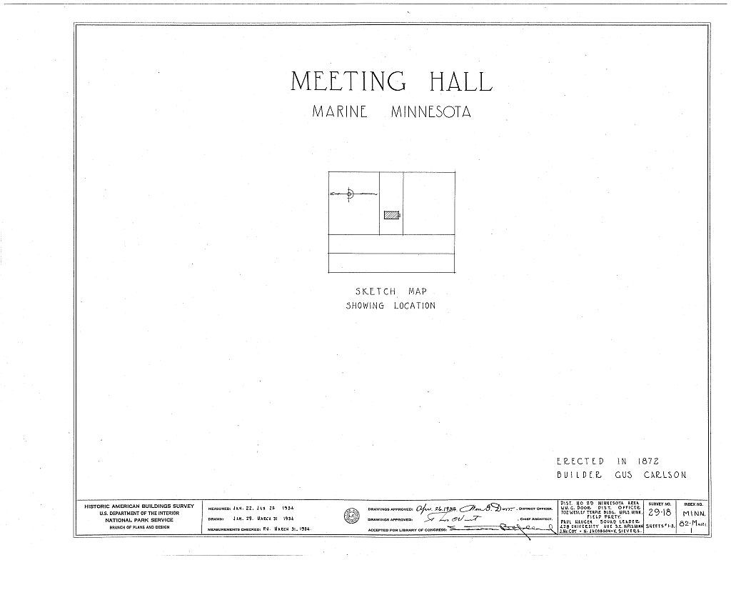 Meeting Hall, Marine on Saint Croix, Washington County, MN