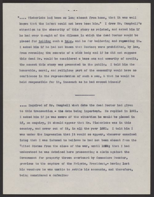 Memorandum concerning the Eaton Affair