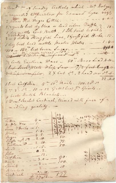 Memorandum of articles purchased for Edmund Lyne