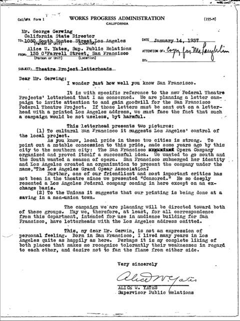 Memorandum Re: Theatre Project Letterheads (San Francisco)