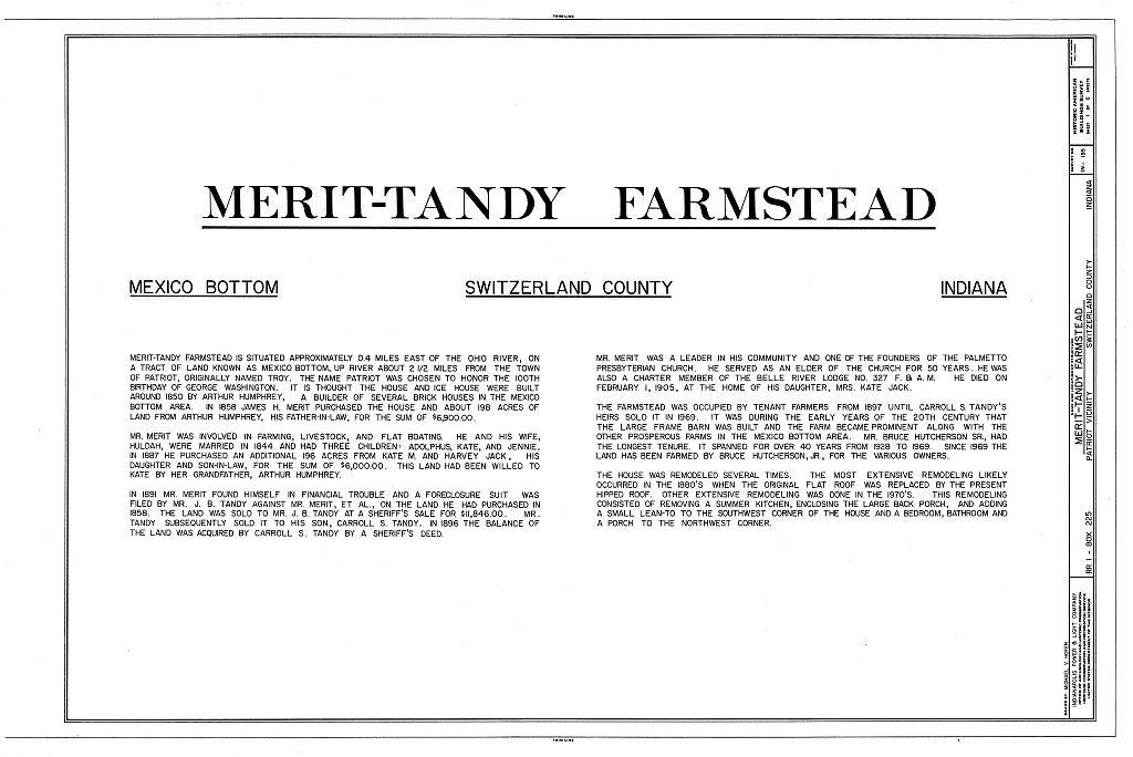 Merit-Tandy Farmstead, RR 1,Box 225, Patriot, Switzerland County, IN