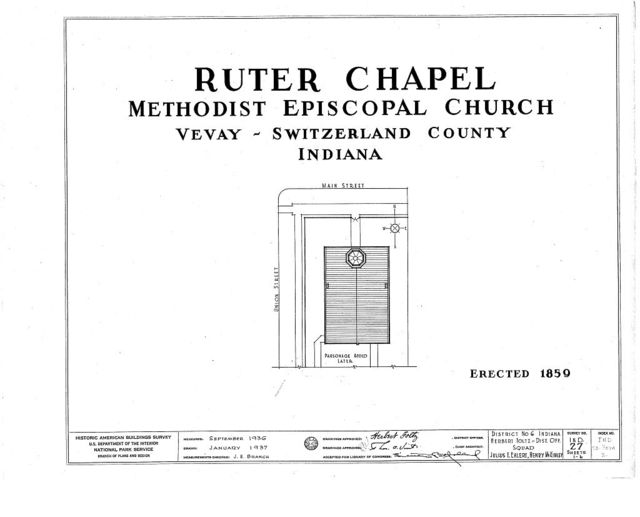 Methodist Episcopal Church, Ruter Chapel, Main & Union Streets, Vevay, Switzerland County, IN