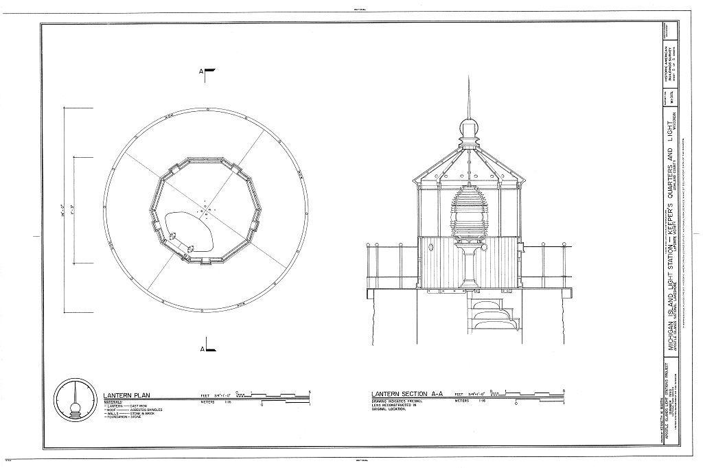 Michigan Island Light Station, Keeper's Quarters & Lighthouse, La Pointe, Ashland County, WI