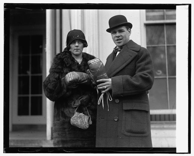 Mickey Walker and wife at W.H. (presented gloves to Coolidge), 2/5/25
