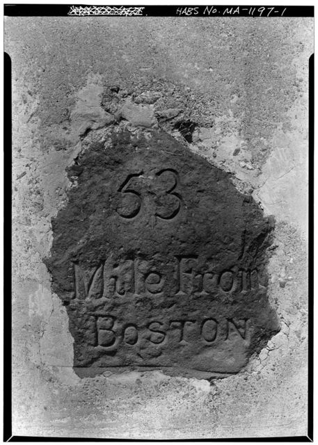 Milestone, Route 9 at Collier's Corner, Leicester, Worcester County, MA