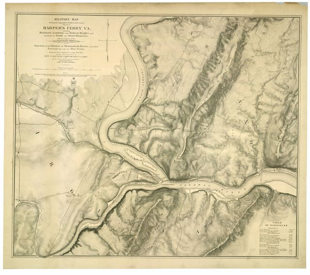 Military map showing the topographical features of the country adjacent to Harper's Ferry Va. : including Maryland, Loudoun, and Bolivar Heights, and portions of South and Short Mountains, with the positions of the defensive works : also the junction of the Potomac & Shenandoah Rivers, and their passage through the Blue Ridge /