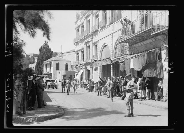 Military search for arms inside Jaffa Gate, Oct. 7, '38