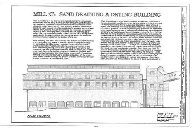 """Mill """"C"""" Complex, Sand Draining & Drying Building, South of Dee Bennet Road, near Illinois River, Ottawa, La Salle County, IL"""