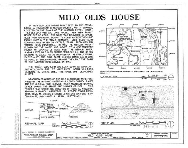 Milo Olds House, Stanton, Mercer County, ND