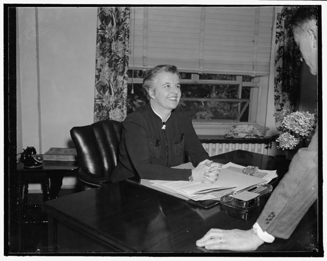 Miss Martin, Assistant to Chairman of the National Republican Committee. Washington, D.C., Sept. 22. An informal picture of Miss Marion E. Martin, of Bangor, Maine, who has been recently appointed as Assistant to the Chairman, in charge of women's Activities of the National Republican Committee. Miss Martin served in the last campaign in the Eastern Headquarters of the Women's Division. She succeeds Mrs. Robert Lincoln Hoyal. 9/22/37