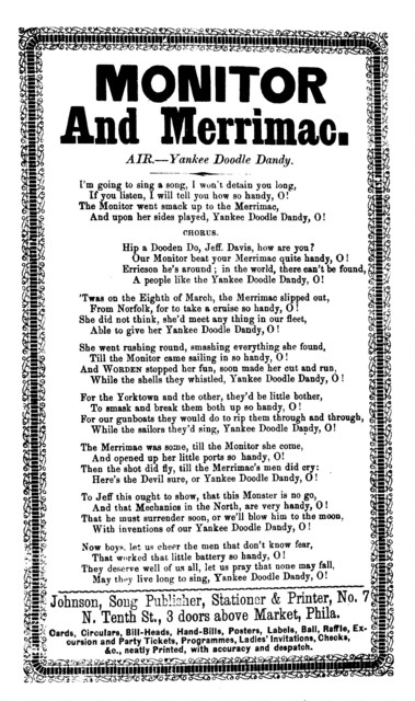 Monitor and Merrimac. Air--Yankee Doodle Dandy. Johnson, Song Publisher, &c., Phila