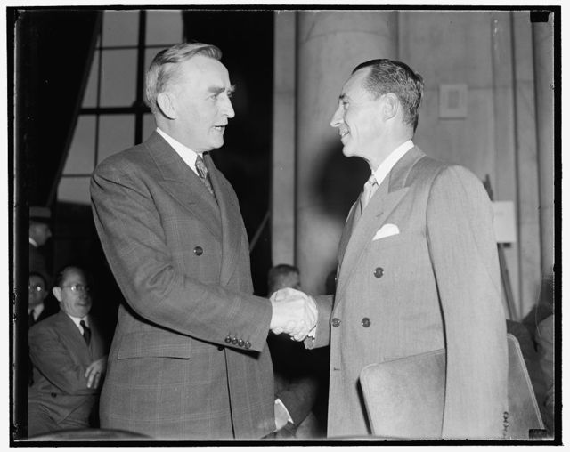 Monopoly Chairman greets Edsal [i.e. Edsel] Ford. Washington, D.C., Dec. 5. Chairman of the Monopoly Committee Joseph C. O'Mahoney, left, greets Edsal [i.e. Edsel]  Ford, President of the Ford Motor Co., as he arrives to appear before the Committee. Ford's testimony took up most of the day's hearing