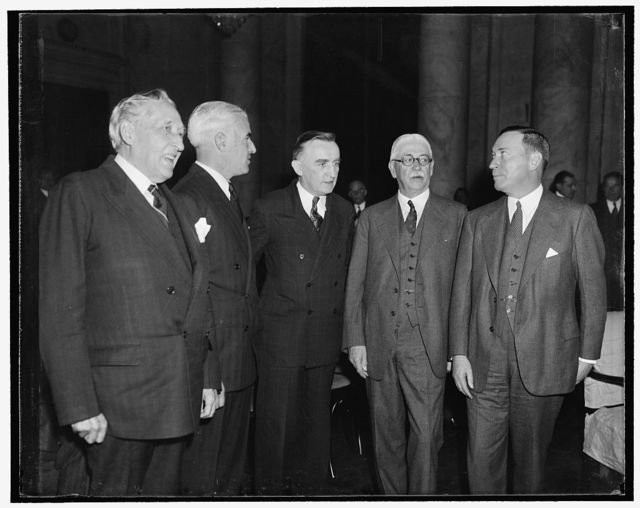Monopoly Committee begins study of steel industry. Washington, D.C., Nov. 1. Leaders of the nation's steel business were on hand at the Capitol today as the National Monopoly Committee began a study of the $4,000,000,000 industry. Here we see, left to right: Senator William H. King, a member of the committee, Edward R. Stettinius, Chairman of the Board, U.S. Steel Corporation, Senator Joseph C. O'Mahoney, co-chairman of the committee, Nathan L. Miller, General Counsel for U.S. Steel Corp., and Benjamin F. Fairless, President of U.S. Steel Corp.