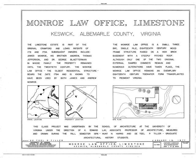 Monroe Law Office, Limestone Plantation, Virginia Route 250, Keswick, Albemarle County, VA