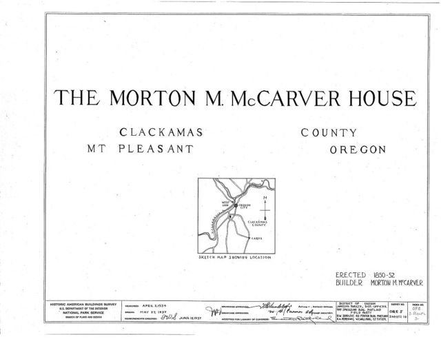 Morton McCarver House, Mount Pleasant, Clackamas County, OR