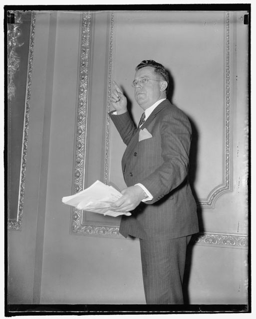 """""""Most unpopular"""" member of congress. Washington, D.C., Nov. 30. Representative Ralph E. Church, Republican of Illinois, whose persistency in making points of order and objecting to unanimous consent requests for adjournment, has earned him the title of """"The Most Unpopular Member"""". The House recessed on Thanksgiving Day only """"by the courtesy of"""" rep. Church, as House Leader Rayburn put it. Rep. Church says he is determined that, having been called in special session, the solons stick on the job. 11/30/37"""