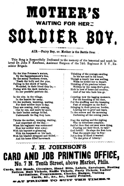 Mother's waiting for her soldier boy. Air.--Fairy boy, or, Mother is the battle over. J. H. Johnson, Song Publisher. ... Phila
