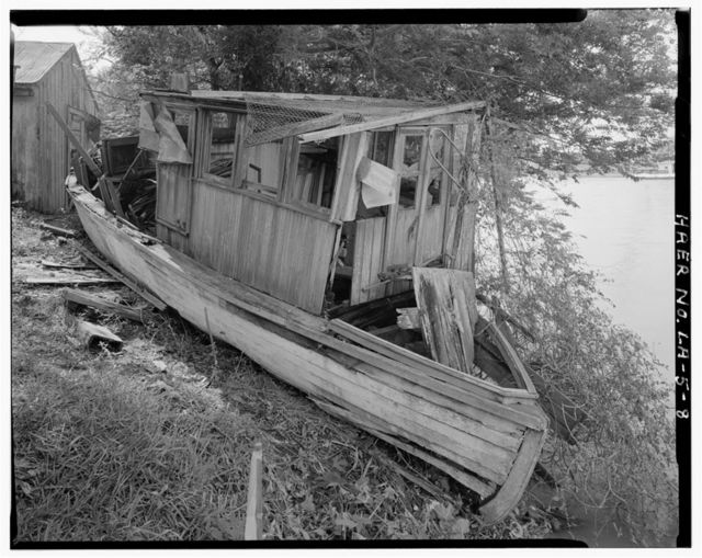 "Motorized Sailing Vessel ""Fox"", Beached on East Bank ofBayou Lafourche, Larose, Lafourche Parish, LA"