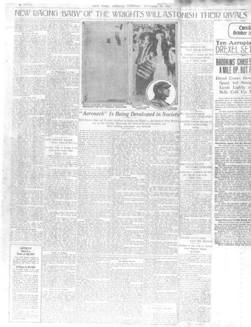 Mr. Drexel in his Speedy Bleriot Reaches A Height of 7,105 Feet [New York Herald]