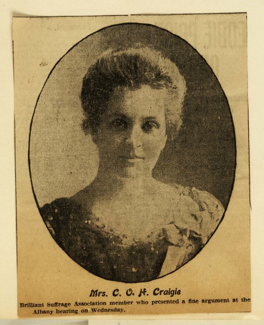 Mrs. C. O. H. Craigie (Mary E.) Chairman, Legislative Committee, New York State Woman Suffrage Association addressed Albany suffrage hearings