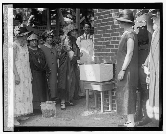 Mrs. Coolidge laying cornerstone at Florence Crittenden [i.e., Crittenton] Home, 5/27/25