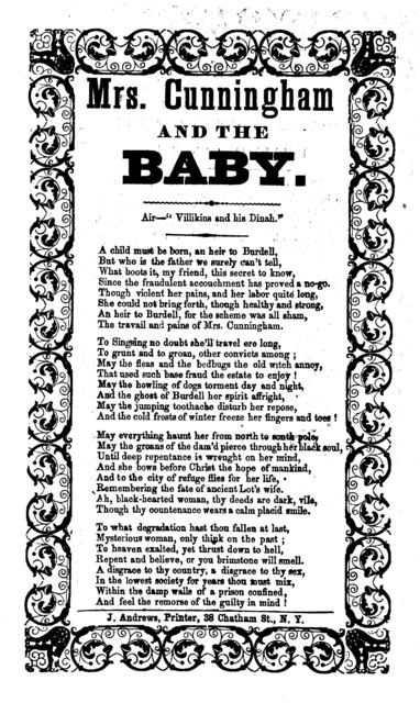 Mrs. Cunningham and the baby. Air--Villikins and his Dinah. J. Andrews, Printer, 38 Chatham Street, N. Y