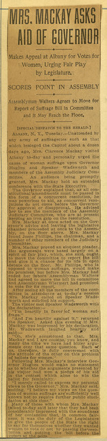 Mrs. Mackay Asks Aid of Governor Hughes
