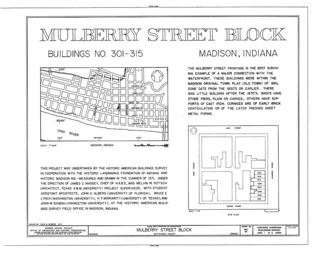 Mulberry Street Block (Commercial Buildings), 301-315 Mulberry Street, Madison, Jefferson County, IN