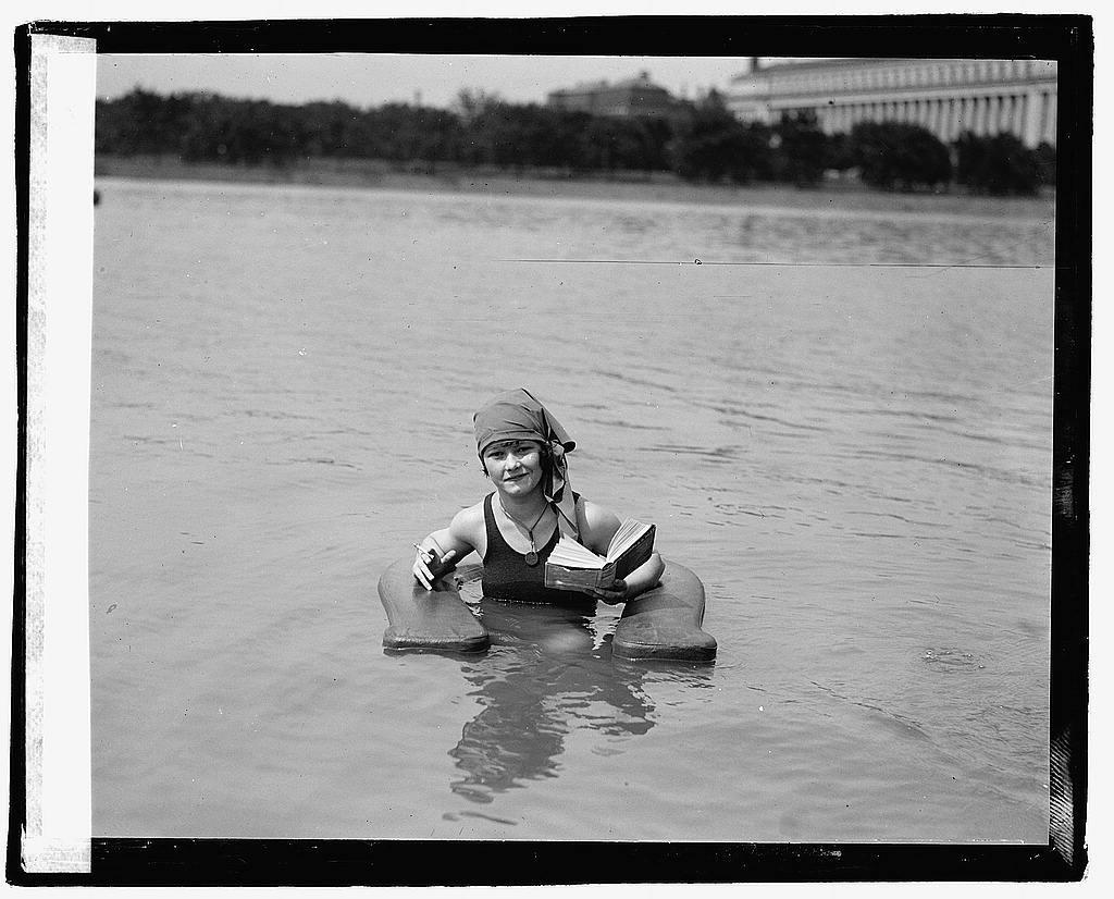 Muriel Quackenbush in surf chair at Wash. Bathing Beach. 6/24/22