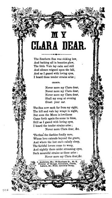 My Clara dear. J. Andrews, No. 38 Chatham St., N.Y