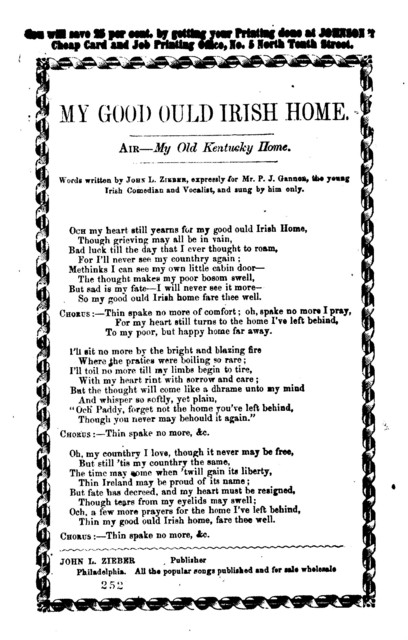 My good ould Irish home. Words written by John L. Zieber, expressly for Mr. P. J. Gannen, the young Irish comedian and vocalist, and sung by him only. Air- My old Kentucky home. John L. Zieber, Publisher