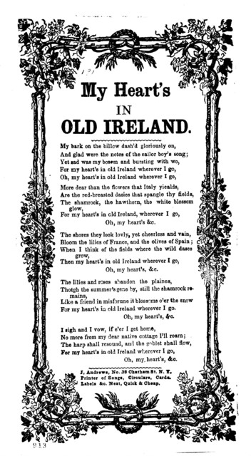 My heart's in old Ireland. J. Andrews, No. 38 Chatham St. N. Y