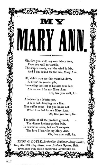 My Mary Ann. Thos. G. Doyle, Bookseller, Stationer, 7c., No. 297 Gay Street near Ashland Square, Balt