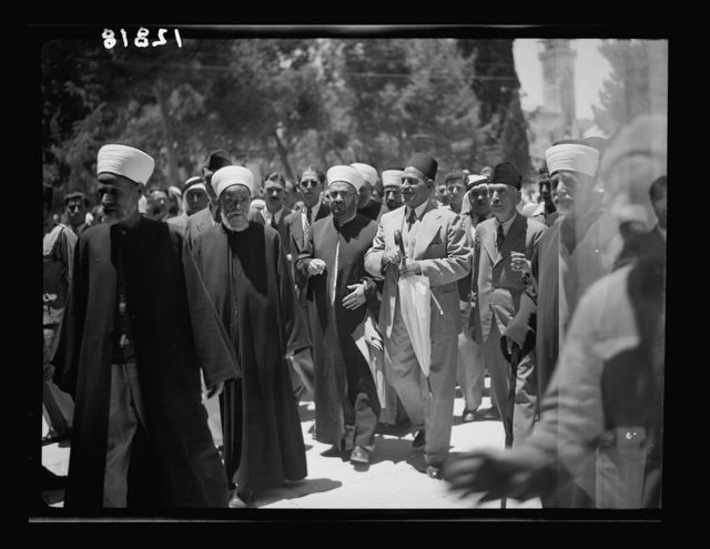 Nahas Pasha's visit to Temple Area. El Aksa [i.e., al-Aqsa] & Dome of the Rock. Party enroute to el-Aksa