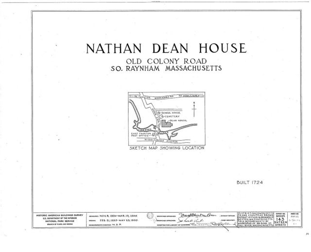 Nathan Dean House, Old Colony Road, East Taunton, Bristol County, MA