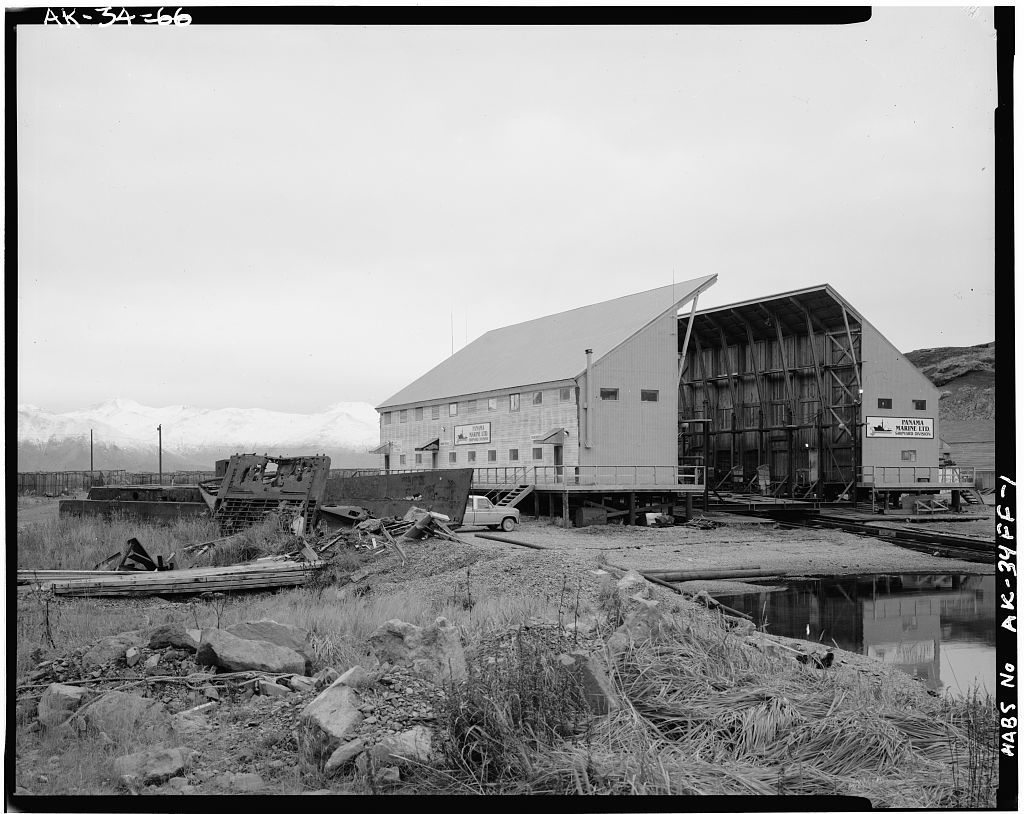 Naval Operating Base Dutch Harbor & Fort Mears, Iliuliuk Submarine Base Marine Railway Ship Repair Shed, Unalaska, Aleutian Islands, AK