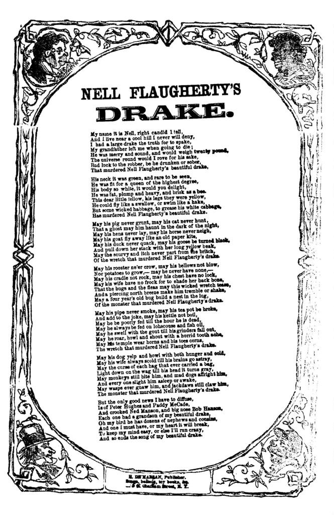 Nell Flaugherty's drake. H. De Marsan, Publisher, 54 Chatham Street, N. Y
