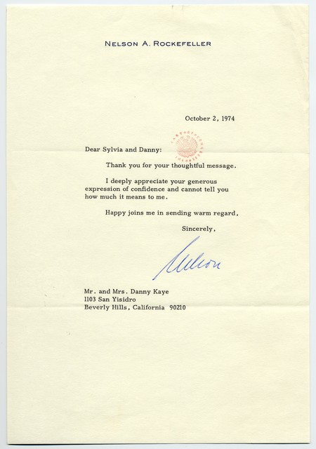 Nelson Rockefeller to Sylvia and Danny Kaye, October 1974