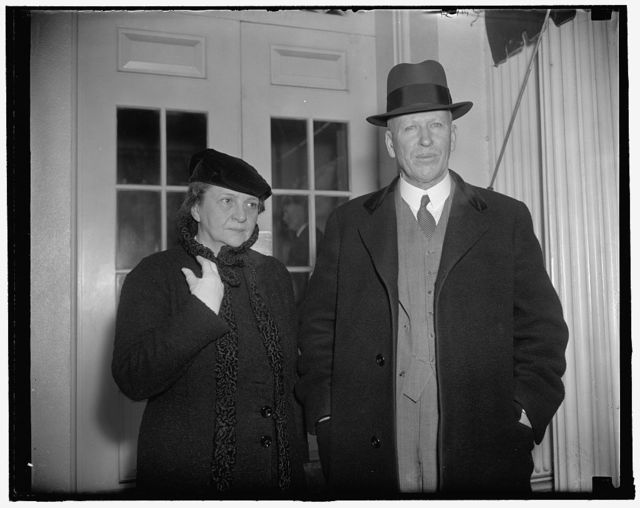 New Assistant Labor Secretary presented to the Chief. Washington, D.C., Jan. 27. Charles V. McLaughlin, recently appointed Assistant Secretary of Labor to succeed Edward F. McGrady, made his first call on President Roosevelt today. He was accompanied to the White house by Secretary Frances Perkins, 1/27/38
