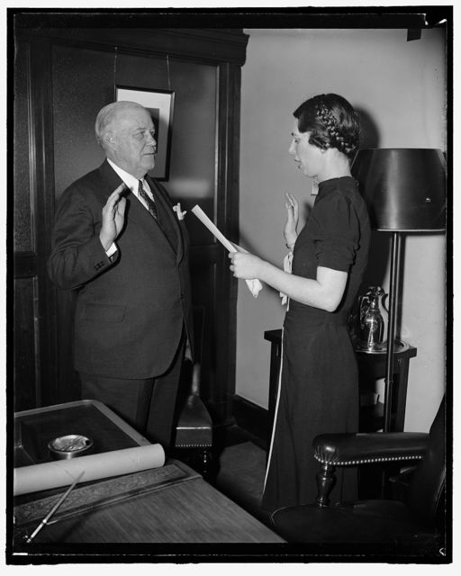 New FCC Commissioner takes oath. Washington, D.C., April 13. Frederick I. Thompson, recently named to succeed Judge Eugene Sykes as a member of the Federal Communication Commission, was today administered the oath of office by Pansy Wiltshire, FCC Personnel Assistant, 4-13-39